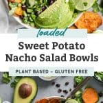 hand with fork digging into loaded sweet potato nacho salad bowls with avocado, black beans, jalapeno and lime