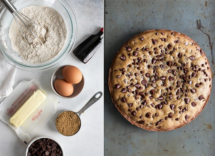 cookie cake ingredients and baked cookie cake on pan