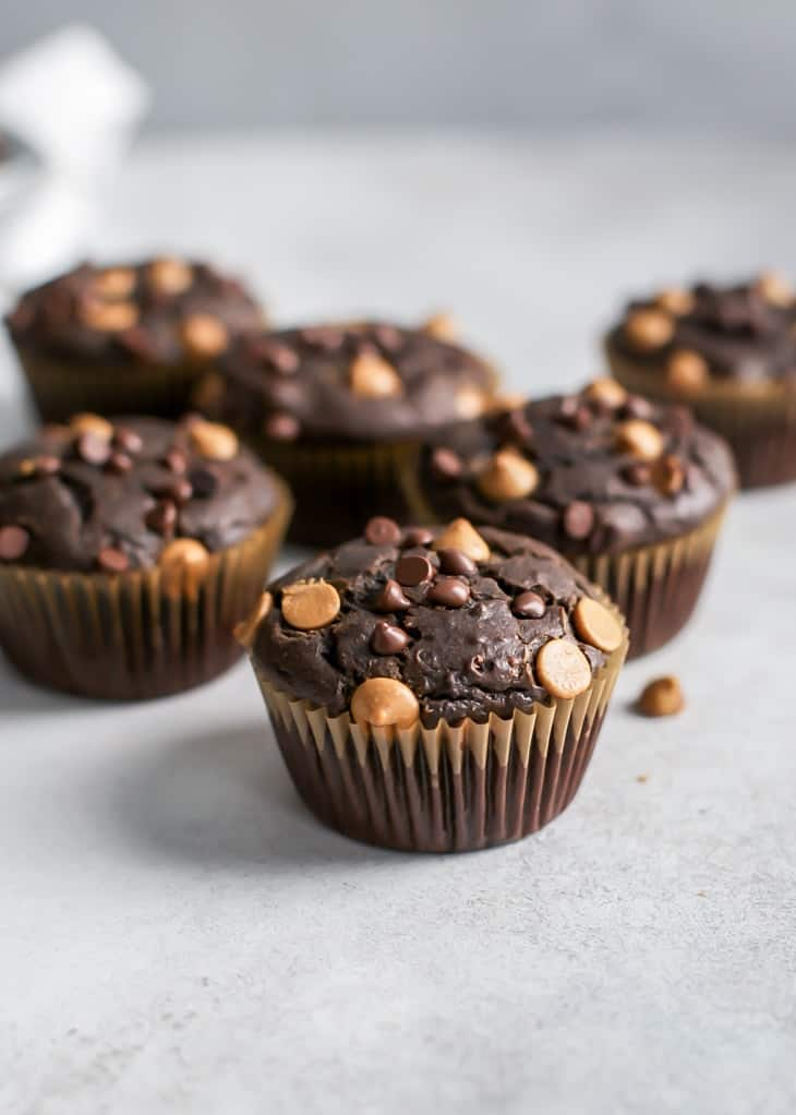 chocolate peanut butter muffin with chocolate chips and peanut butter chips