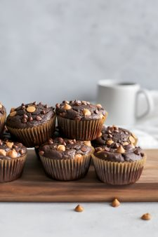 Healthy Chocolate Peanut Butter Muffins [dairy-free friendly]
