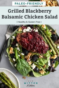 Grilled blackberry balsamic chicken salad in bowl on counter