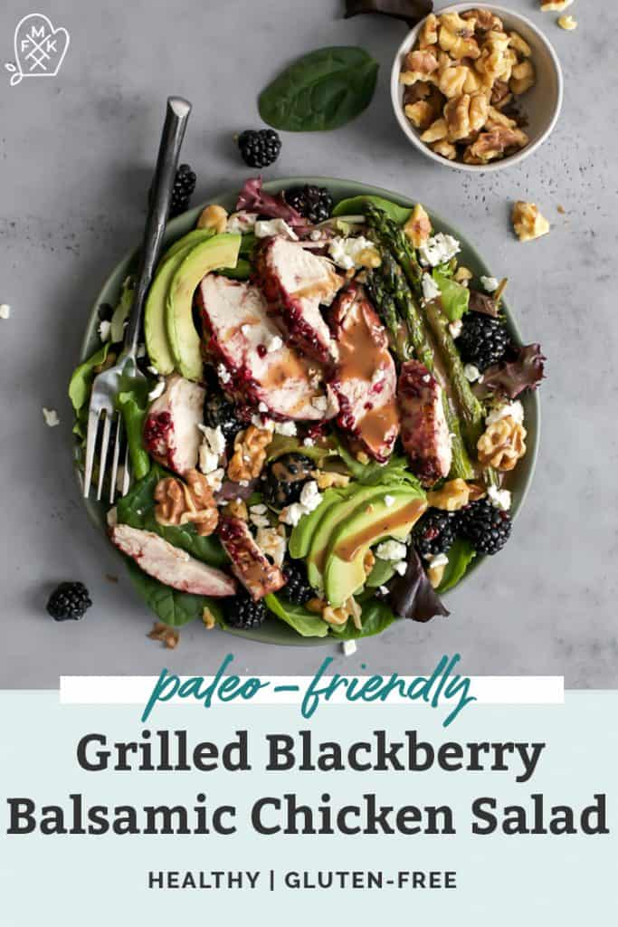 grilled blackberry balsamic chicken salad in bowl with fork