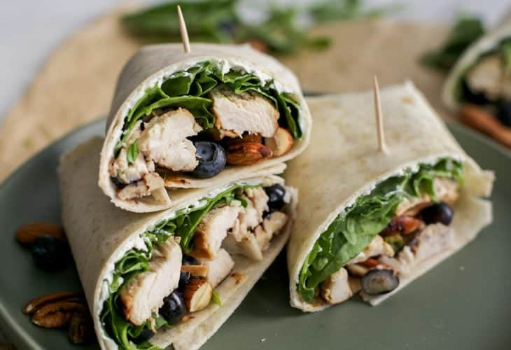Balsamic Chicken Wrap with blueberries & goat cheese {gluten-free}