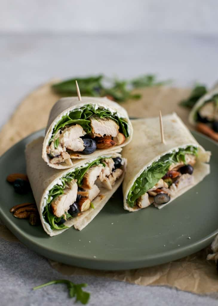 balsamic chicken wraps on green plate