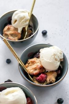 Small Batch Cherry Berry Cobbler a la mode {grain-free}