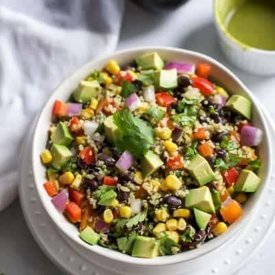 Southwest Quinoa Salad with Cilantro Chili Lime Dressing