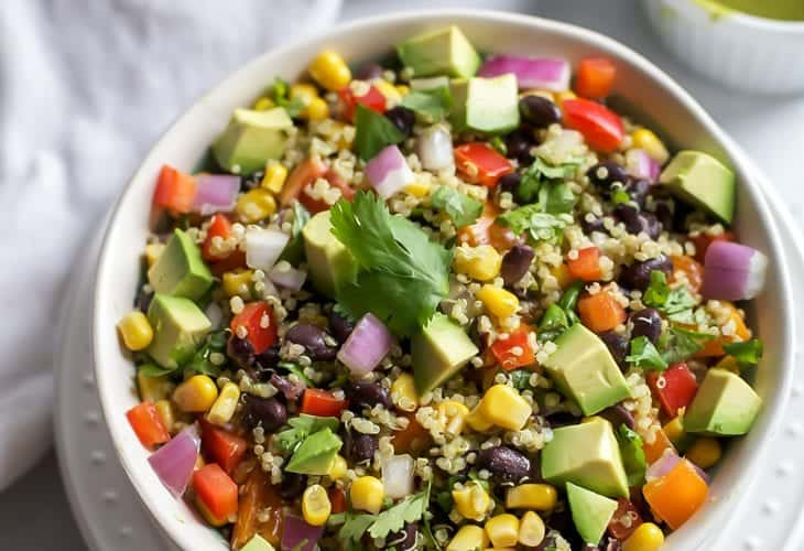 Southwest Quinoa Salad with Cilantro Chili Lime Dressing