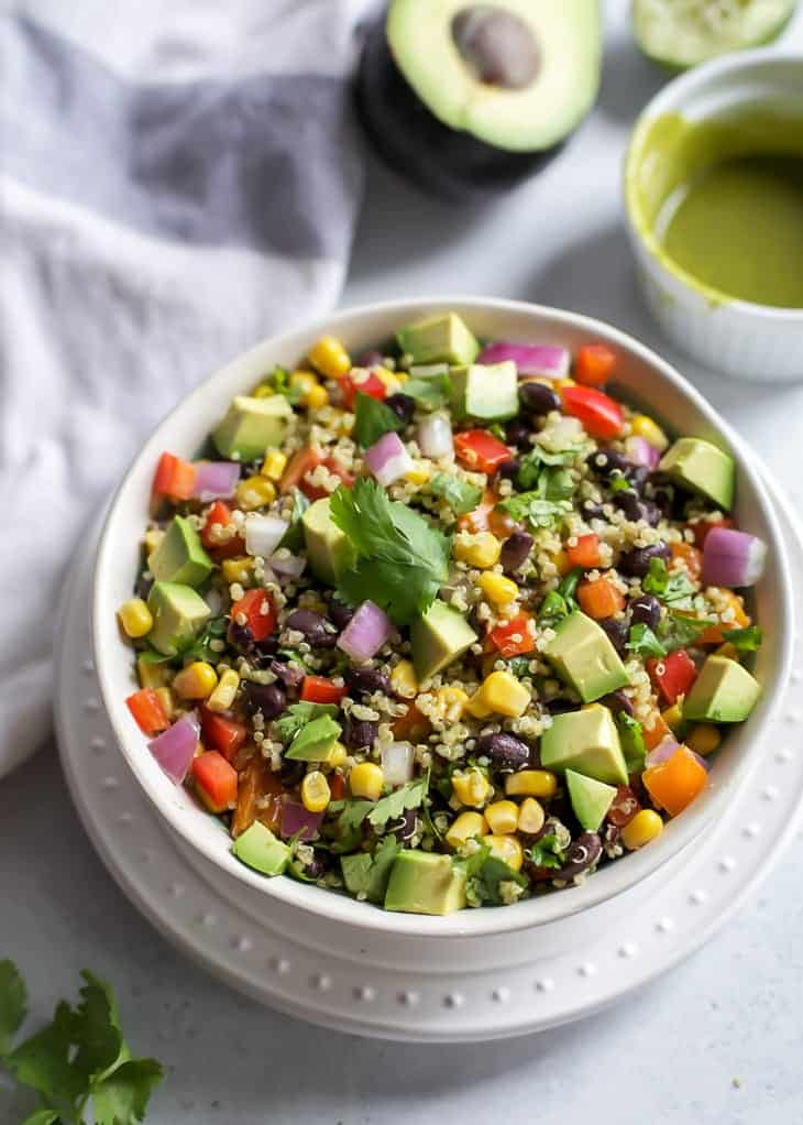 southwest quinoa salad with cilantro chili lime dressing fit