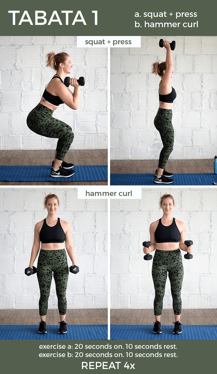 tabata workout infographic with squat press and hammer curls
