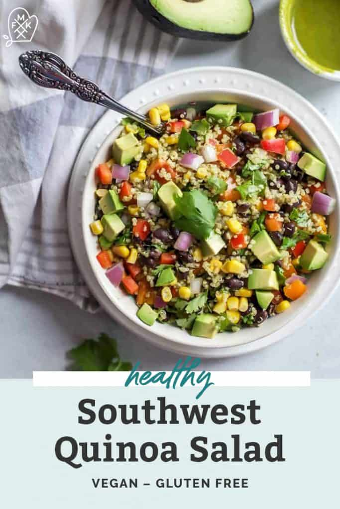 southwest quinoa salad in bowl on counter with fork