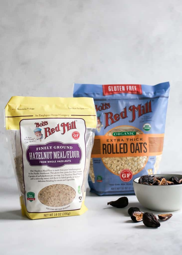 package of Bob's Red Mill hazelnut meal and thick cut gluten free rolled oats