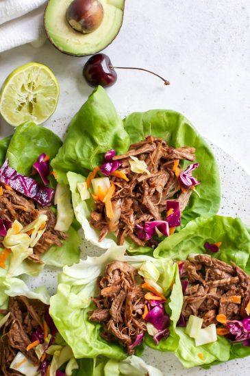 Cherry Chipotle BBQ Pulled Pork Lettuce Wraps (or sliders!)