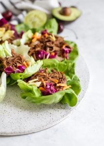 pork lettuce wrap cups with slaw