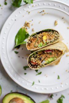 Easy Quinoa Chipotle Pollock Fish Burger Wrap