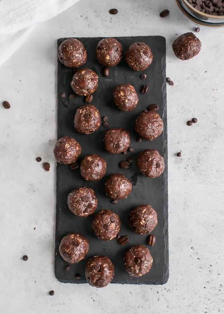 chocolate tahini energy balls on slate