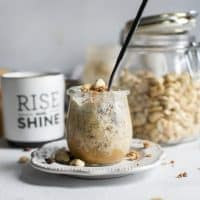 weck jar of cashew butter overnight oats