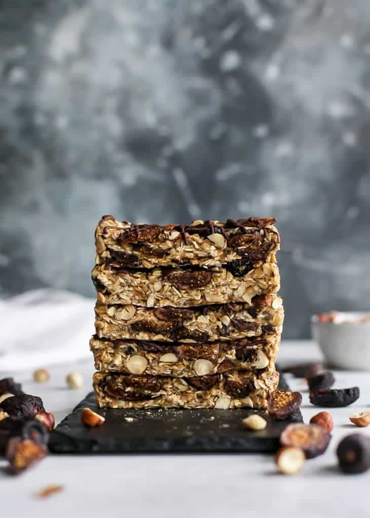 stack of no-bake hazelnut fig granola bars