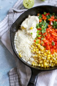 recipe for corn dip (Mexican street corn recipe) in cast iron skillet