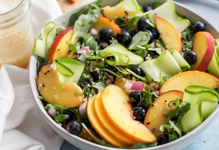 Summer Peach Salad with Quinoa & Arugula