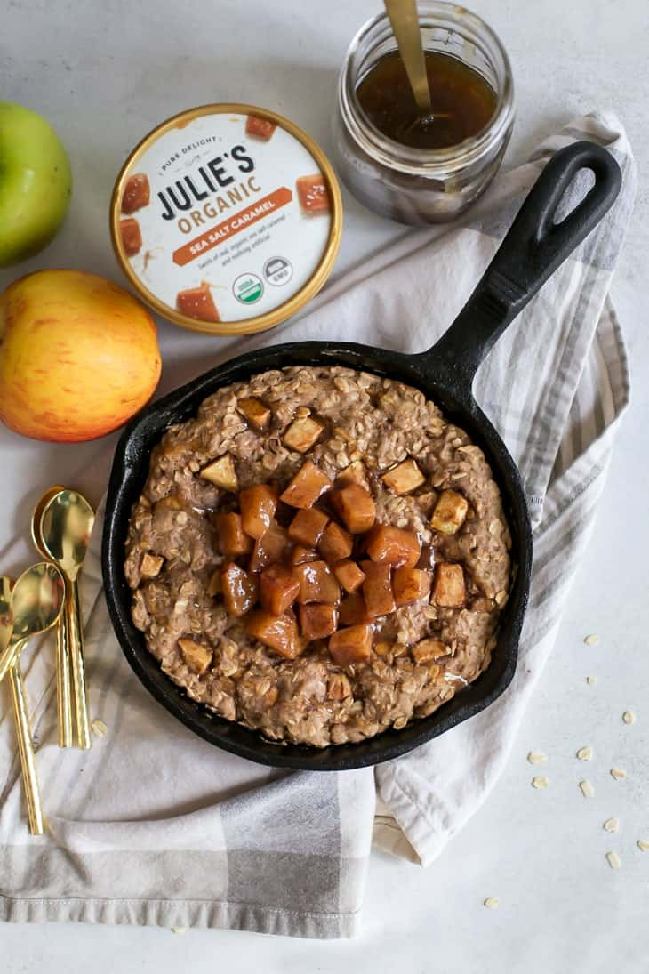 skillet cookie topped with cooked apples