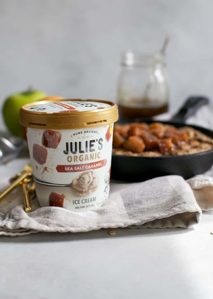 Julie's Organic Sea Salt Caramel Ice Cream Pint for apple cookie topping