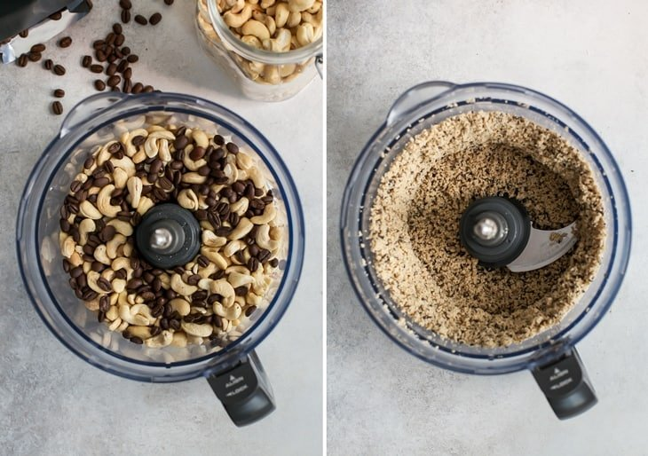 food processor bowl with cashews and espresso beans for homemade cashew butter