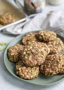 zucchini cookies on green plate