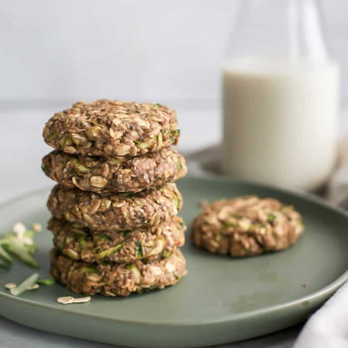 stack of zucchini breakfast cookies on plate