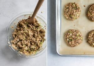 mixing bowl of cookie batter and baked zucchini cookies on pan