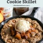 oatmeal apple cookie skillet with scoop of vanilla ice cream