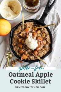 aerial view of oatmeal apple cookie skillet with scoop of vanilla ice cream on top