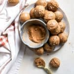 peanut butter cookie dough bites with pumpkin spice on plate