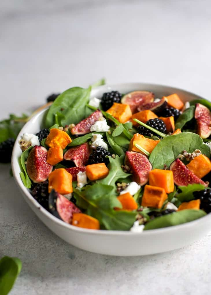 roasted sweet potato and blackberries in a fig salad