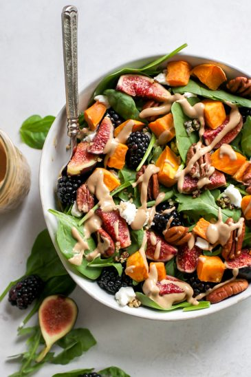 Blackberry Fig Salad with roasted sweet potatoes