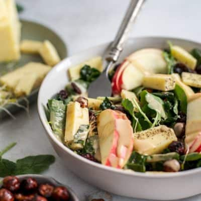 Apple Hazelnut Kale Salad with peppered white cheddar {and the Tillamook retreat!}