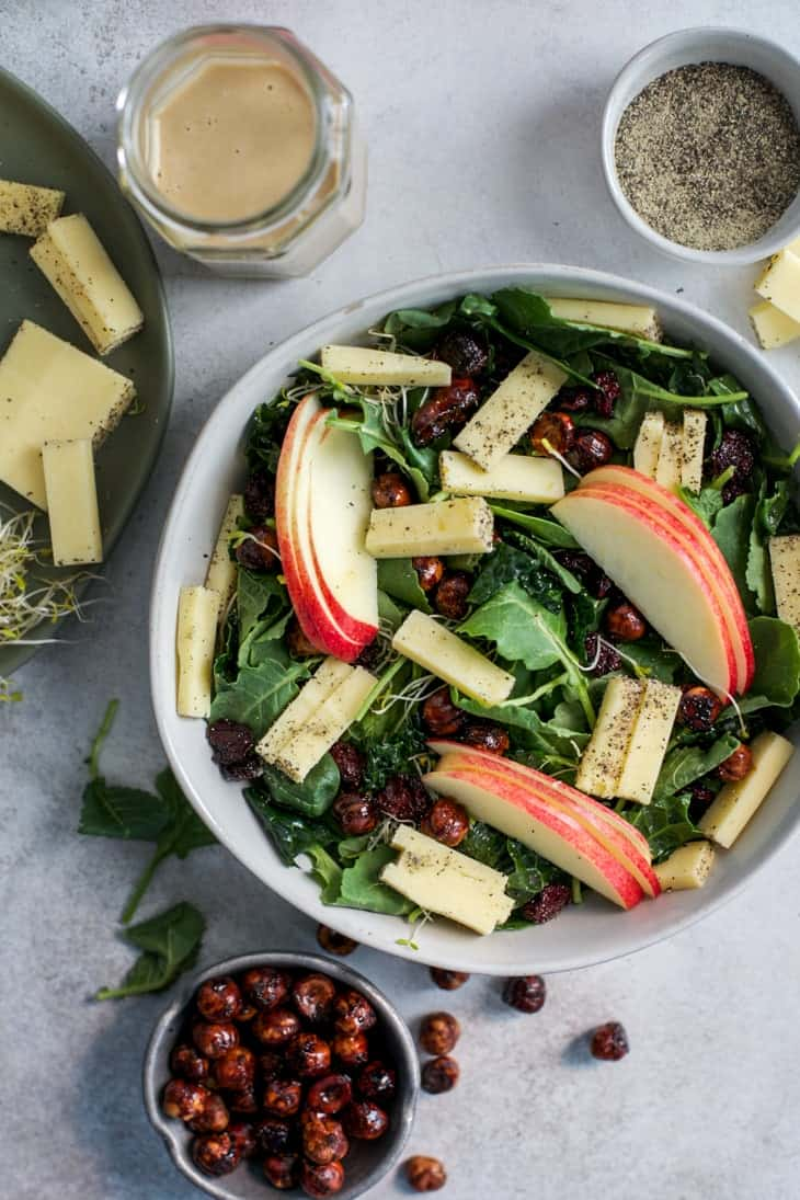 apple hazelnut kale salad with peppered white cheddar