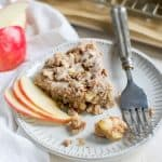 Apple Scone on plate with silver fork and apple slices