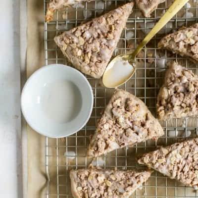 Whole Grain Gluten Free Apple Scones with Cinnamon Streusel