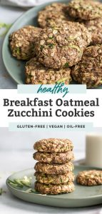 two photos of zucchini breakfast cookies on plate