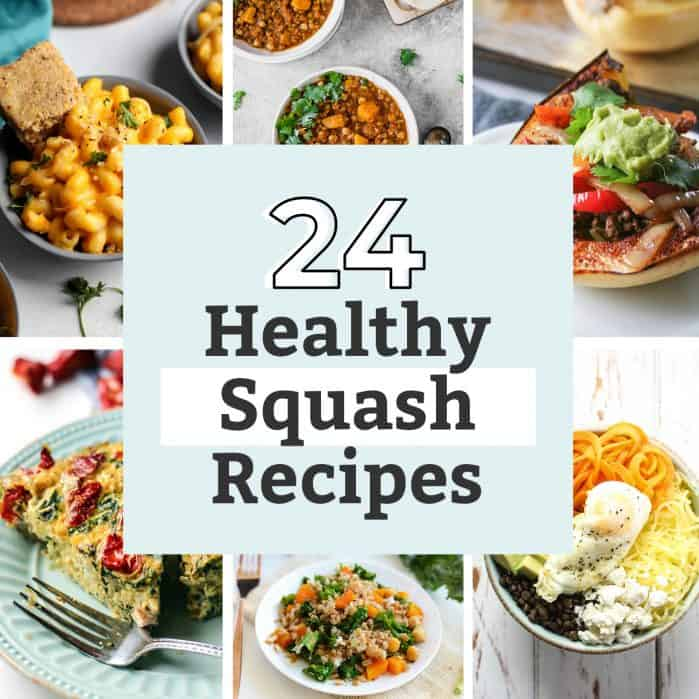 photo collage roundup of the 24 best, healthiest squash recipes