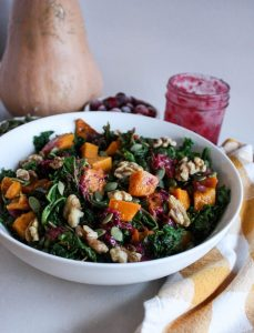 BUTTERNUT SQUASH AND KALE SALAD WITH EASY CRANBERRY DRESSING