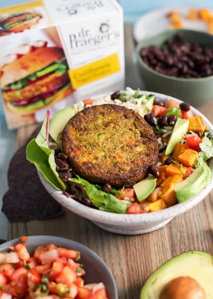 Dr. Praeger's California Veggie Burger for burrito bowls