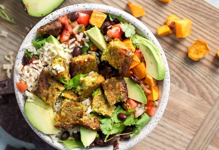 California Veggie Burger Burrito Bowl {vegan}