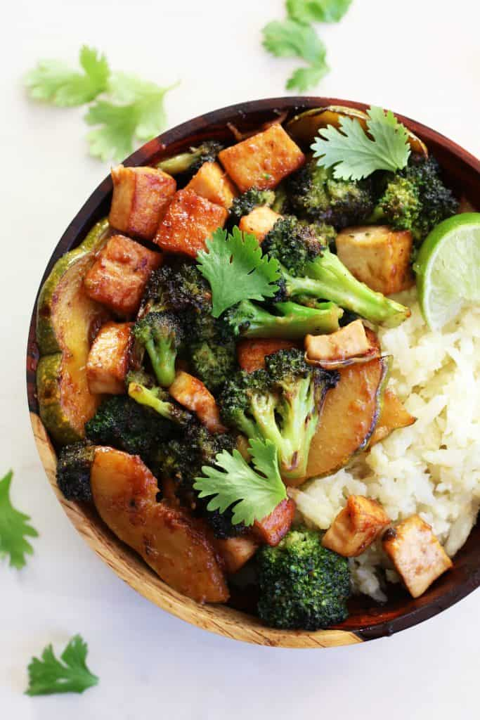 broccoli tofu squash bowl