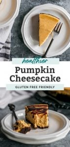 slice of pumpkin cheesecake with chocolate sauce on dessert plate