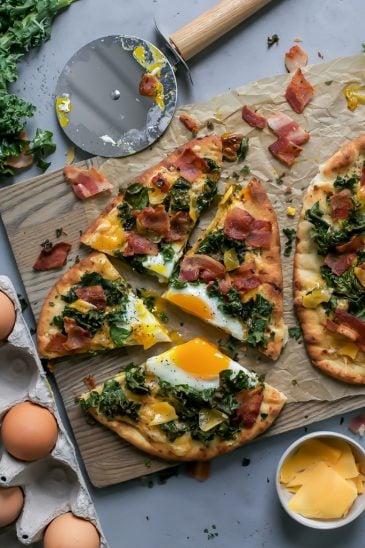 Kale, Bacon & Cheddar Naan Breakfast Pizza