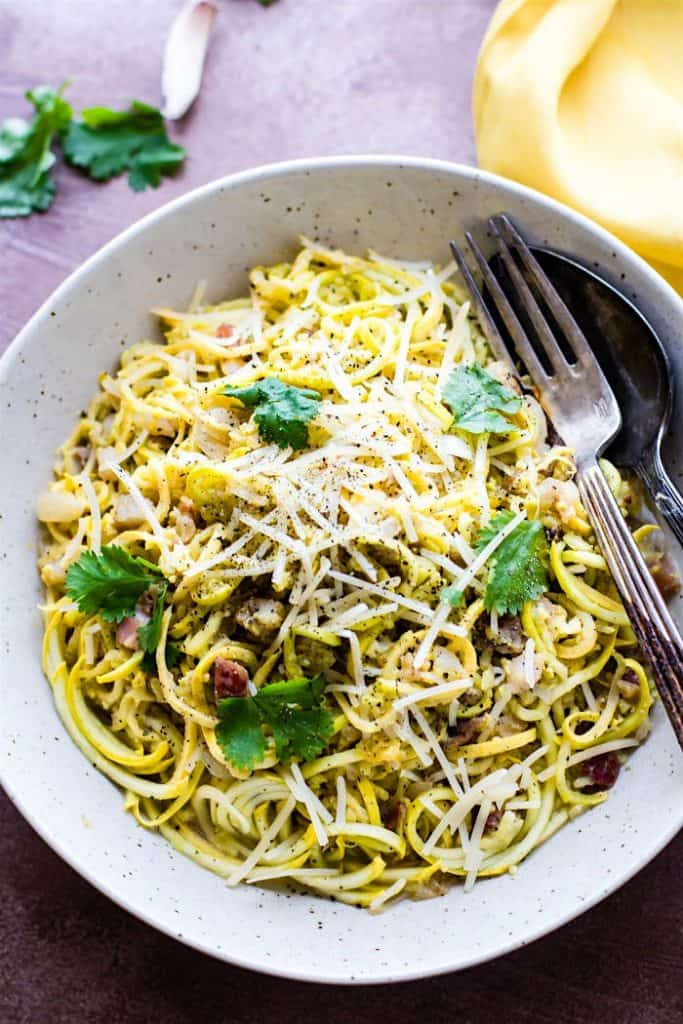 spiralized squash pasta carbonara