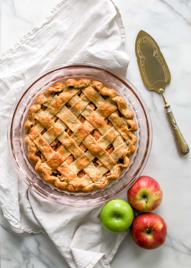 baked apple pie with lattice crust
