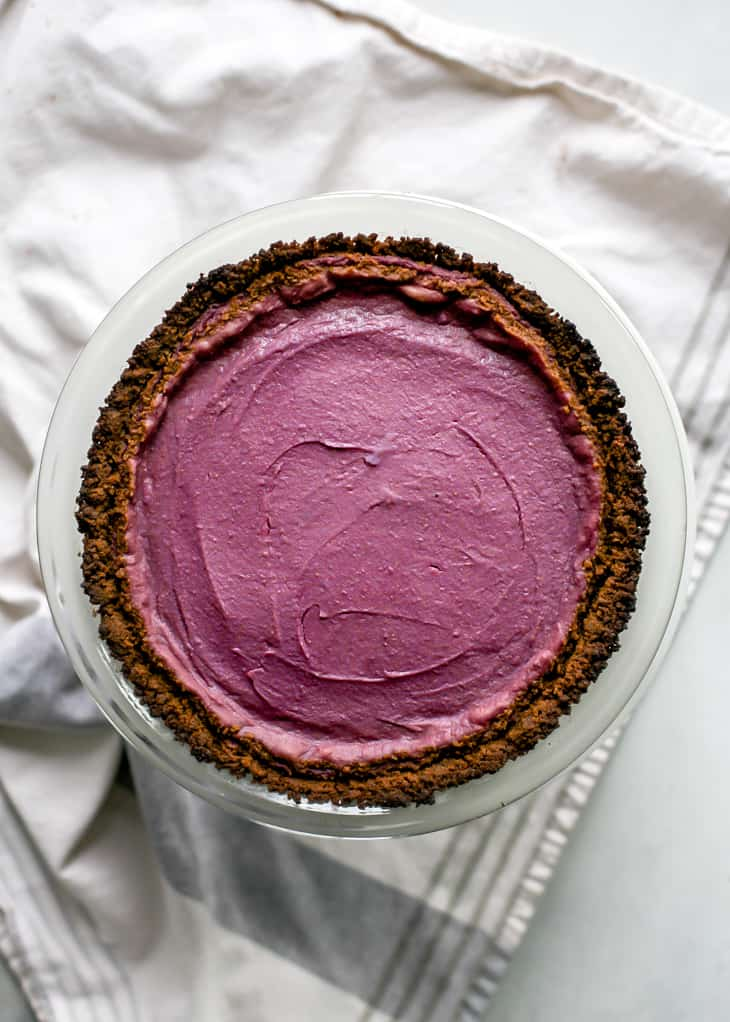 "baked purple sweet potato pie in 9"" pie plate"