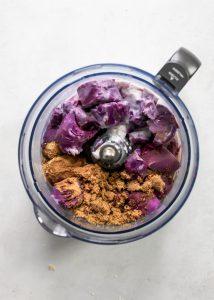 purple sweet potato pie filling ingredients in food processor bowl